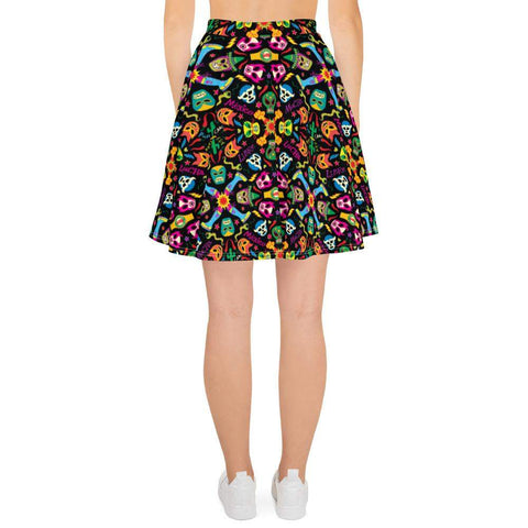 Mexican wrestling colorful party Skater Skirt - Zoo&co
