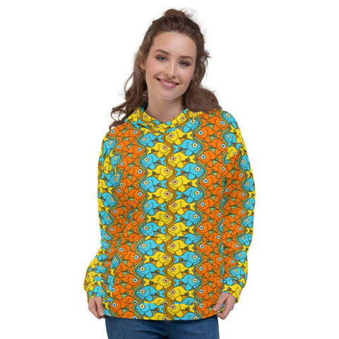 Smiling colorful fishes pattern Unisex Hoodie