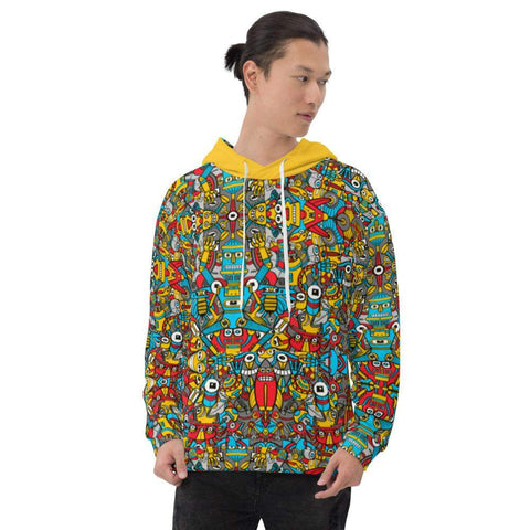 Crazy robots raising from rust in lively junkyards Unisex Hoodie