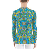 Back view of a Women's Rash guard printed with Exotic birds tropical pattern
