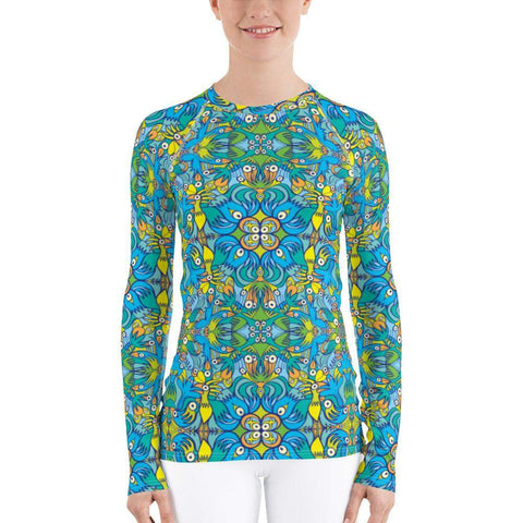 Front view of a Women's Rash guard printed with Exotic birds tropical pattern