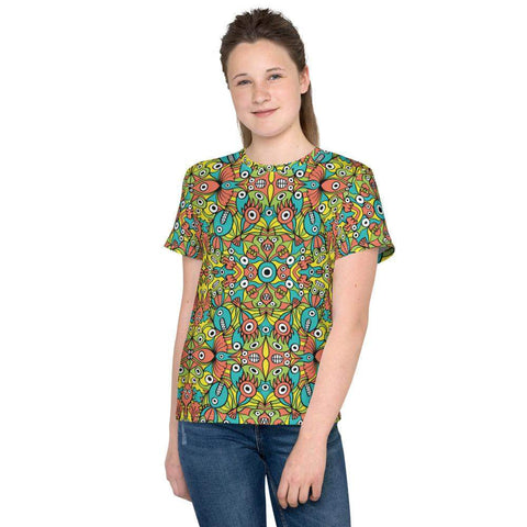 Alien monsters pattern design Youth crew neck t-shirt - Zoo&co