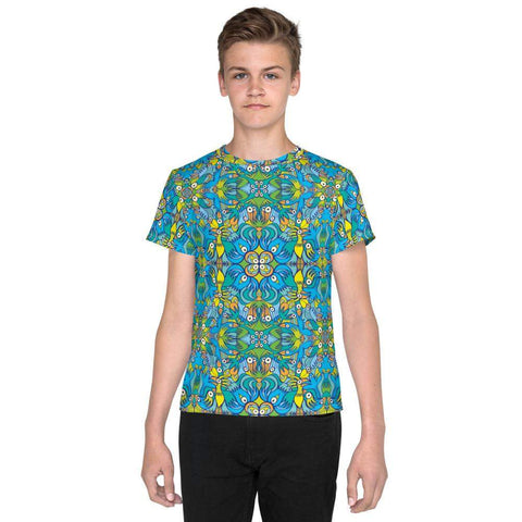 Exotic birds tropical pattern Youth crew neck t-shirt - Zoo&co