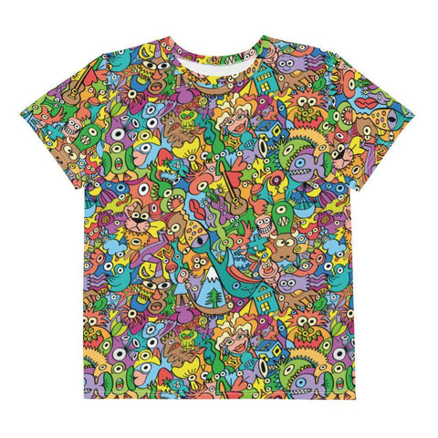 Cheerful crowd enjoying a lively carnival Youth crew neck t-shirt