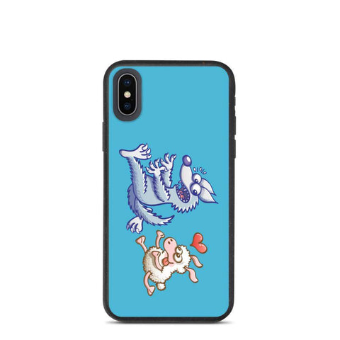 Sheep in love running after a wolf Biodegradable phone case - Zoo&co
