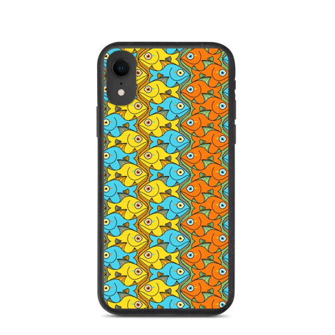 Smiling fishes colorful pattern Biodegradable phone case