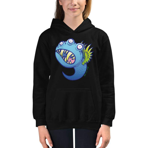 Winged little blue monster Kids Hoodie
