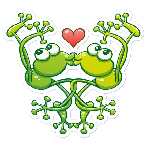 Cute frogs acrobatic kiss Bubble-free stickers