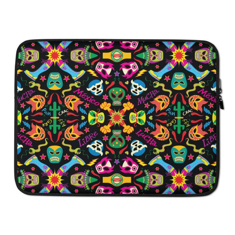 Mexican wrestling colorful party Laptop Sleeve