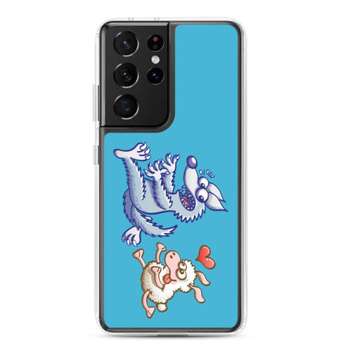 Sheep in love running after a wolf Samsung Case - Zoo&co
