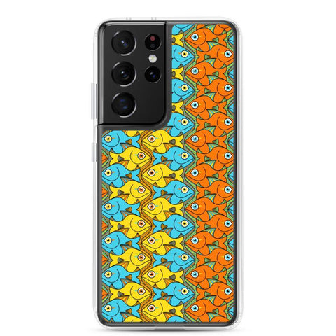 Smiling fishes colorful pattern Samsung Case