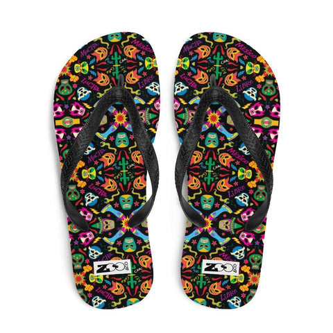 Mexican wrestling colorful party Flip-Flops
