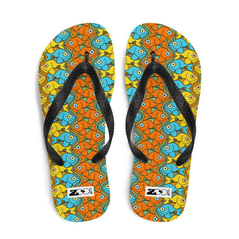 Smiling colorful fishes pattern Flip-Flops