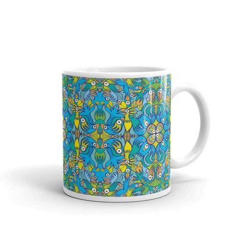 Exotic birds tropical pattern White glossy mug - Zoo&co