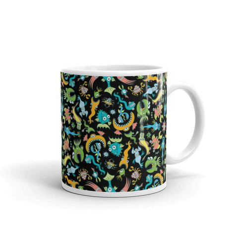 Sea creatures pattern design White glossy mug - Zoo&co