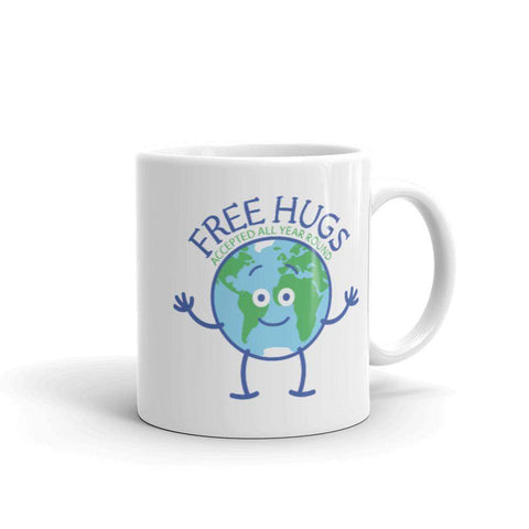 Planet Earth accepts free hugs all year round White glossy mug