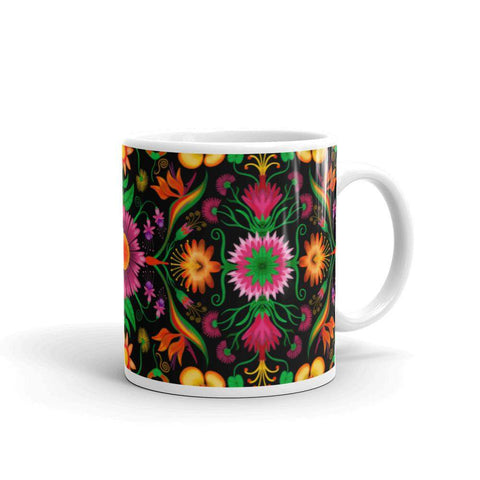 Wild flowers in a luxuriant jungle White glossy mug