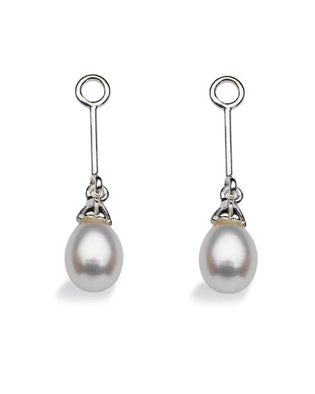 "Pair of earring hangers ""LONG DROP"" from Spinning Jewelry, featuring sterling silver with freshwater pearls."