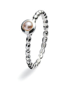 Sterling silver ring with freshwater pearl setting.