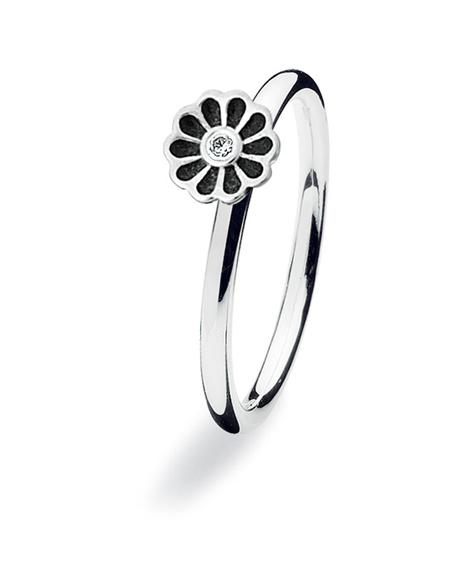 Sterling silver ring 150-08 : MINI BLOSSOM, black