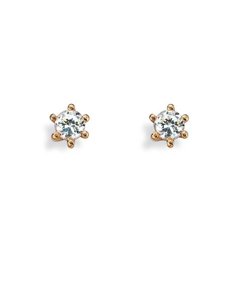 "Pair of studs ""PRINCESS"" from Spinning Jewelry, featuring 9 carat gold with cubic zirconia setting."