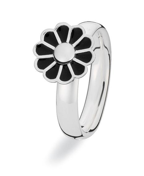 Sterling silver Extreme ring with black enamelled flower setting, from Spinning Jewelry.