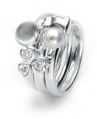 Sterling silver ring combination featuring cubic zirconias, moonstone and freshwater pearl