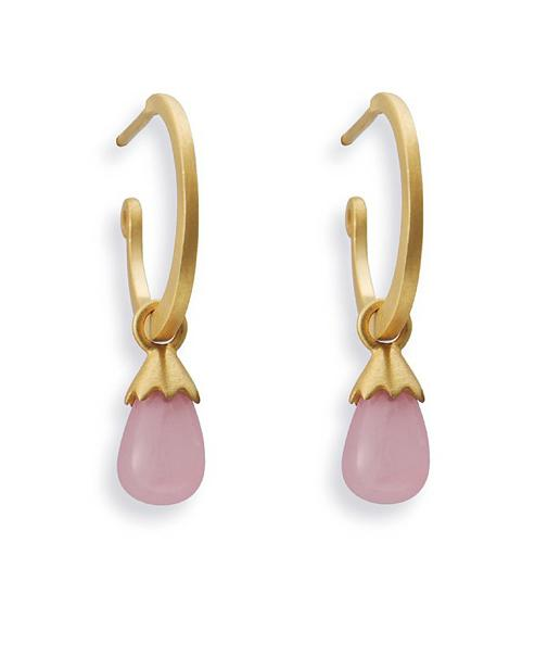 Earring combination 'SUMMER' from Spinning Jewelry, featuring sterling silver and gold plate hooks and hangers, with rose quartz.