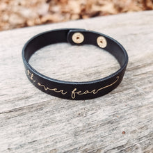 Load image into Gallery viewer, Black Faith Over Fear Leather Bracelet