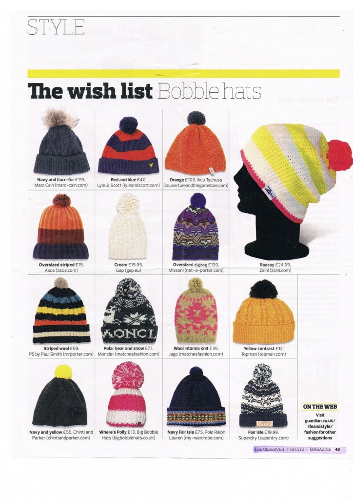 Zaini features in the Guardian as one of the  Best Bobble Hats ... ae60cbe04b4