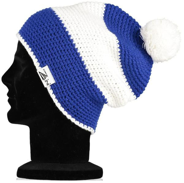 Chelsea Beanie Bobble Hat - Blue and White  8721b737d1c