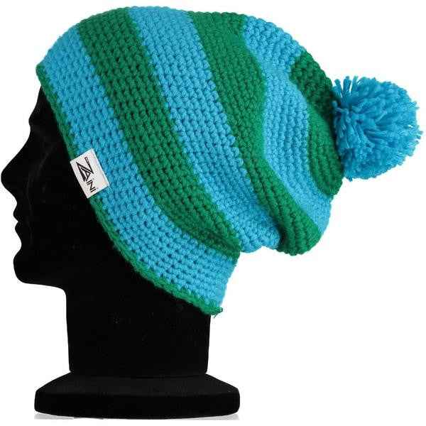 Orkney Beanie Bobble Hat - Green and Blue  f6137b8f820