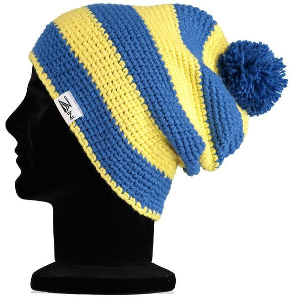 Wallace Beanie Bobble Hat - Yellow and Blue  f30ea7b70f4