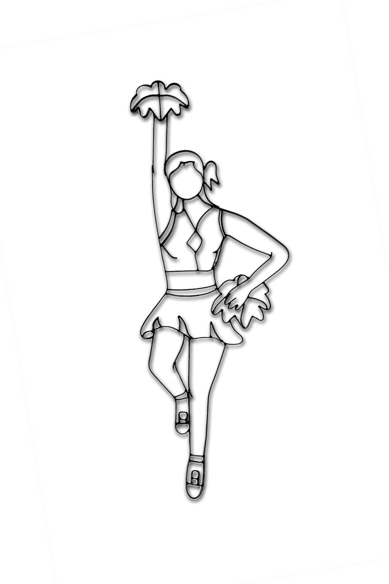 Front view of Cheerleader metal wall art and decor