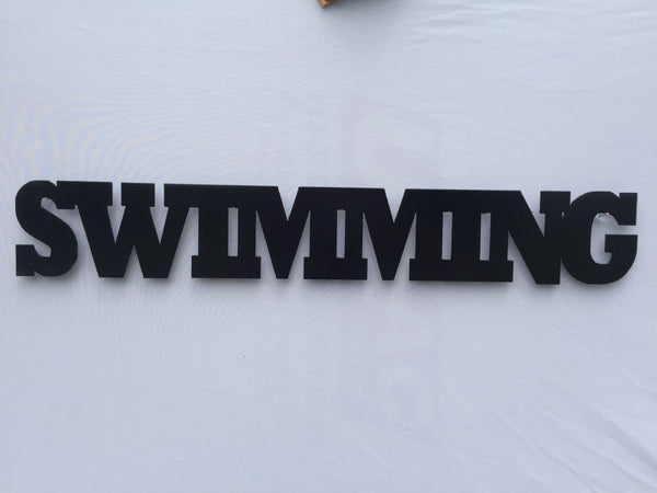 Swimming Word Metal Sign