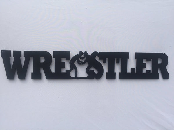 Wrestler Word Metal Sign