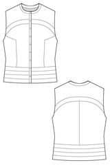 Milena top - multi paneled sleeveless top . flat drawing by Ralph Pink