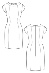 Cap sleeve shift dress flat drawing by Ralph Pink