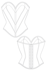 Aurora corset flat drawing by Ralph Pink