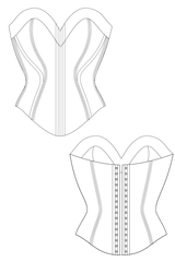 Bella corset flat drawing by Ralph Pink