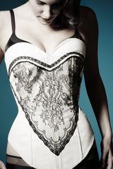 Bella corset - black and white embroidered corset sewing pattern by Ralph Pink