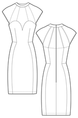 Siara dress - Body con dress. flat drawing by Ralph Pink