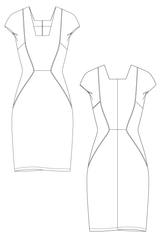 Moda dress - Multi paneled shift dress. flat drawing by Ralph Pink