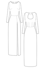 Roxy dress - Boat neck maxi dress. flat drawing by Ralph Pink