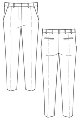 Madeleine trouser - cigarette pants. Flat drawing by Ralph Pink
