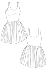 Prilla dress - skater dress. flat drawing by Ralph Pink