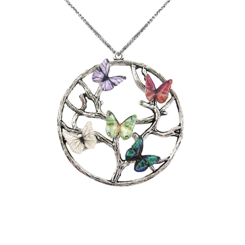 BUTTERFLY BIRTHSTONE FAMILY TREE NECKLACE