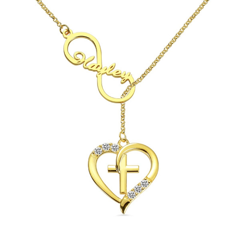 HEART SHAPED CROSS NECKLACE