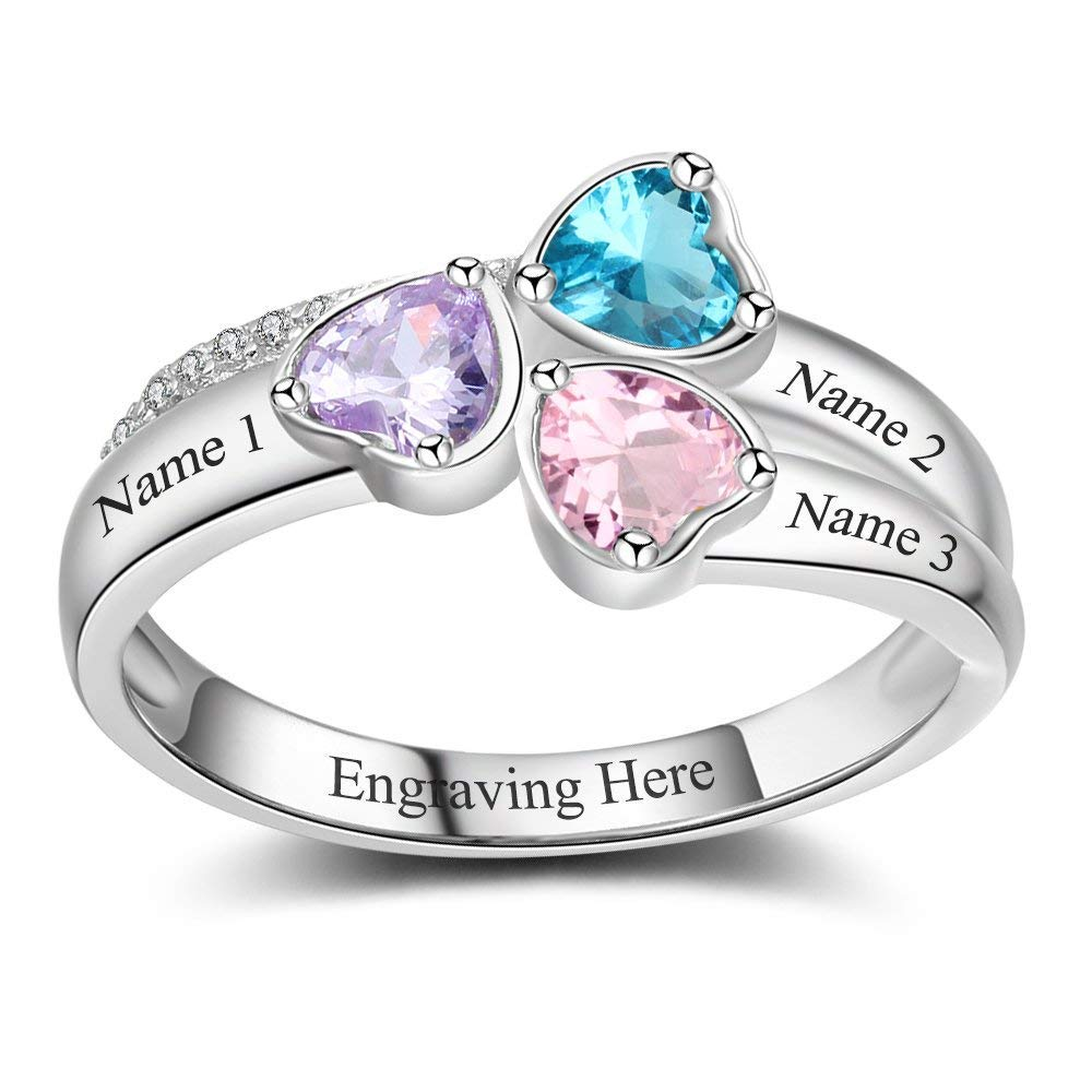 CUSTOM RING WITH 3 BIRTHSTONES