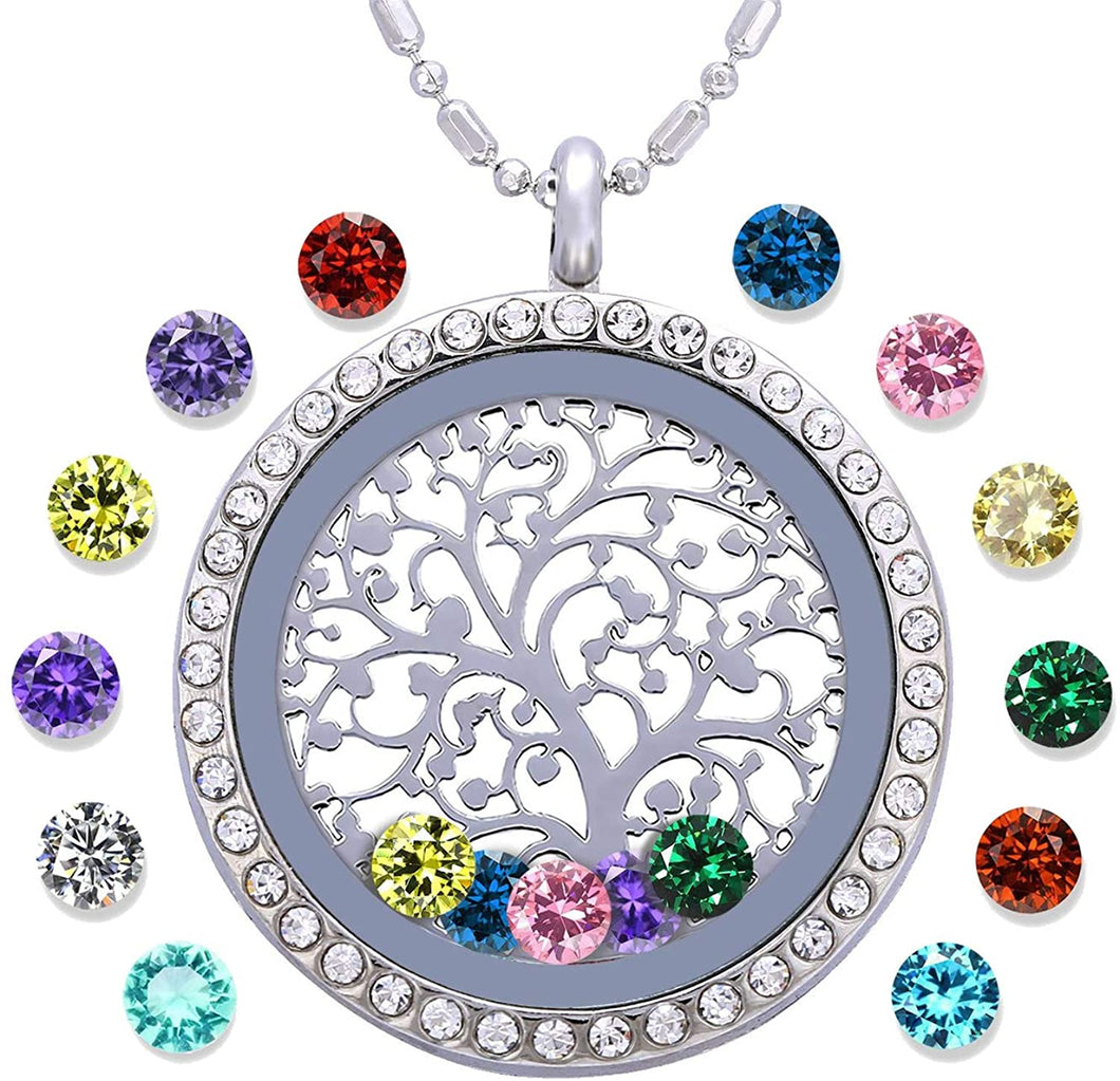TREE OF LIFE FLOATING BIRTHSTONE NECKLACE
